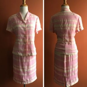 VINTAGE Chinese Pink White Skirt Suit Size M